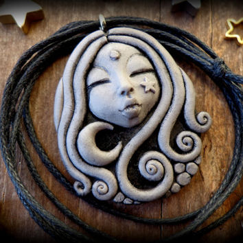 Moon goddess pendant, moon and star necklace, clay goddess necklace,  goddess diana cameo, mythological goddess, cloud necklace, sky goddess