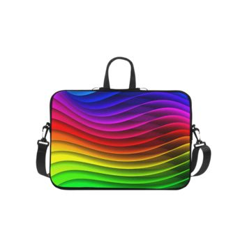 Personalized Laptop Shoulder Bag Glossy Rainbow Stripes Handbags 10 Inch