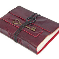 Deep Cherry Red Leather Journal with Heart Key Bookmark