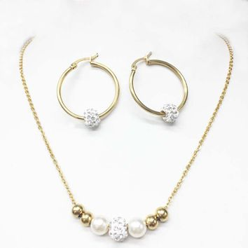 316L Stainless Steel Gold balls Pendant Steel Bead Necklace Sets Hoop Earring Fashion love Jewelry Set For Women Christmas Gifts