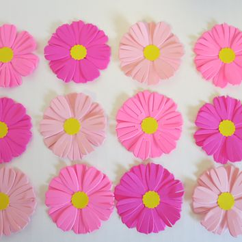 "12 Shades of Pink Aster Paper Flowers, 2"" Daisy Like Blossoms, September Birthday"