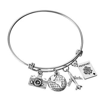 Stainless Steel Adjustable Wire Bangle Camera Globe Airplane Passport Charms DIY Handmade Jewelry Gifts for Women