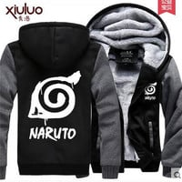 Hot New NARUTO Hoodie Uzumaki Naruto Kurama Logo Winter Fleece Mens Sweatshirts Free Shipping