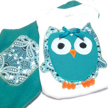 Baby Girl Winter Clothes - Owl Clothes for Baby - 0 -3  Month Baby Girl - Fleece Pants and appliqued Owl Bodysuit