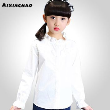 Aixinghao Girls White Blouse Spring Kids Girls School Clothes For Age 6 8 10 12 14 Year Teenage Children's Shirt Girls