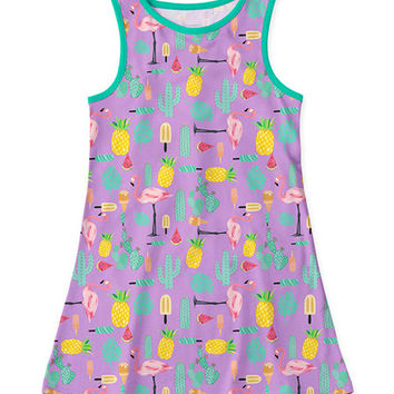 Purple & Green Flamingo Cactus Tank Dress - Toddler & Girls