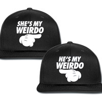 she is my weirdo he is couple matching snapback cap