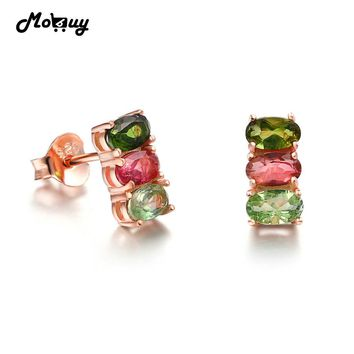 MoBuy MBEI035 Three Colors Oval Tourmaline Natural Gemstone Stud Earrings 925 Sterling Silver Rose Gold Plated Jewelry For Women