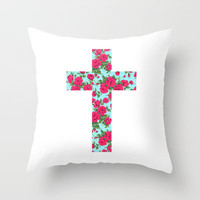 Floral cross Throw Pillow by Nestor   Society6