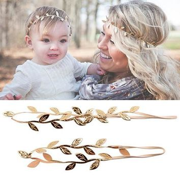 Mommy And Me Gilding Leaf Headband Peace Olive Branch Baby Girl Cute Hairband