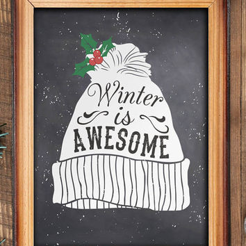 Winter art print, winter printables, holiday decor, home decor for winter, holiday print, chalkboard print decor, winter printables BD-469
