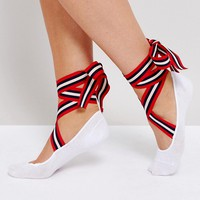 ASOS Ballerina Sock With Stripe Tie Ribbon at asos.com