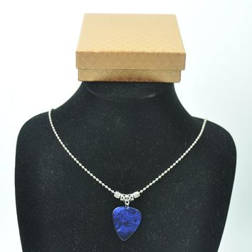Blue Guitar Pick Plectrum Tibetan Silver 24'' Necklace 2.4mm Bead Chain With Gift box
