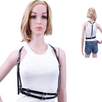 HARNESS Women Dark Rock Street Strap BodyHarness Cool Collar Around Neck AdjustableBuckles Waist Belts