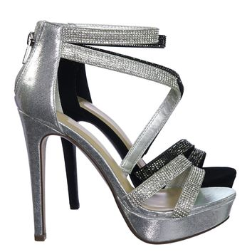Flavor Rhinestone Crystal Embellished Evening High Heel Dress Sandal