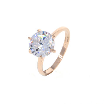 Dear Deer Rose Gold Plated Classic CZ 6-Prong Large Engagement Band Ring