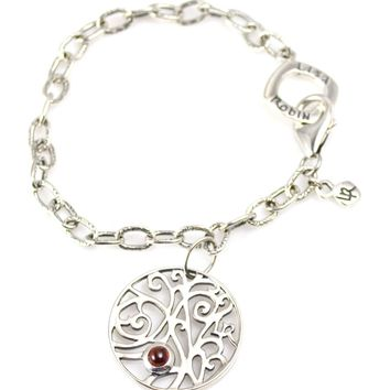 Bracelet Cable and Charm with Garnet