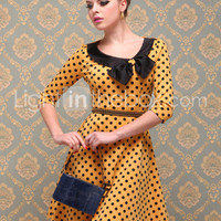 [US$ 47.99] TS VINTAGE Polka Dot Jersey Dress(Exclude Belt)