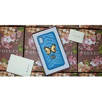 GUCCI Classic Brand Mobile Shell iphone8 Leather Case 7plus F-OF-SJK Blue