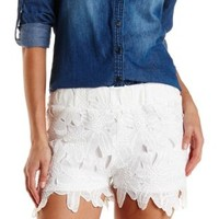 Ivory High-Waisted Floral Lace Shorts by Charlotte Russe
