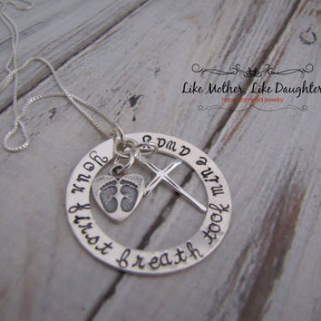 Hand Stamped Jewelry - Mommy Necklace - Your First Breath Took Mine Away - Sterling Silver - Personalized Hand Stamped Jewelry with Cross