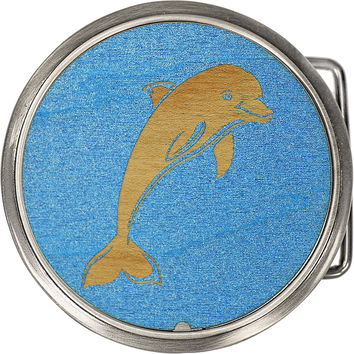 Real Wood Ocean Blue Dolphin Belt Buckle
