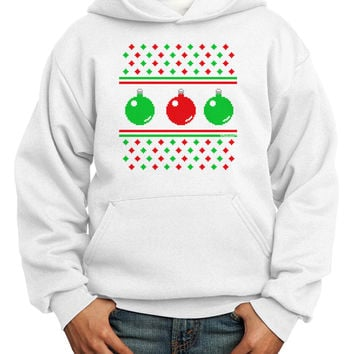 Ugly Christmas Sweater Ornaments Youth Hoodie Pullover Sweatshirt