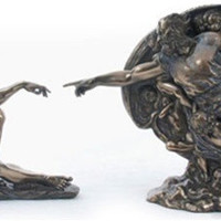 Adam and God Creation of Man Genesis Statue by Michelangelo Bonded Bronze