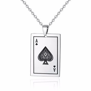 Silver ace poker go fish playing card necklace for men and women