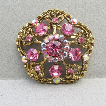 Signed WEISS Pink Rhinestone 1960's Vintage Pin