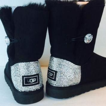ICIK8X2 Bailey Button Bling Uggs Custom With Swarovski Elements: Free Shipping, Repair Kit, Cl