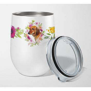 Dachshund Red #1 Pink Flowers Stainless Steel 12 oz Stemless Wine Glass CK4134TBL12