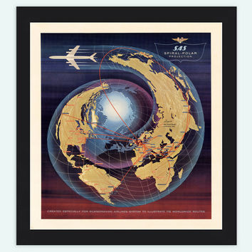 Vintage World Map Spiral Polar Projection Airlines