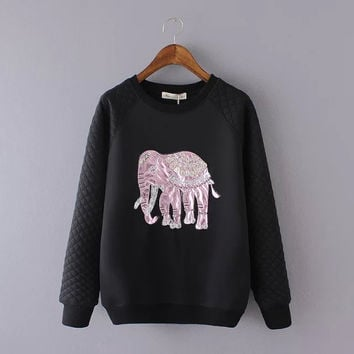 Elephant Embroidered Sweater