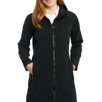 Port Authority - Ladies Long Textured Hooded Soft Shell Jacket.