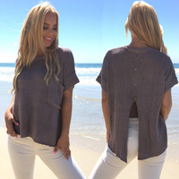 Cute As A Button Sweater Top in Mocha