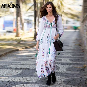 Embroidery Flower White Maxi Dress Women Autumn Retro Long Sleeve Loose Cotton Dresses Tassel