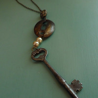 Skeleton Key Necklace, Steampunk, Vintage, Lock, Repurposed, Recycled Jewelry S20