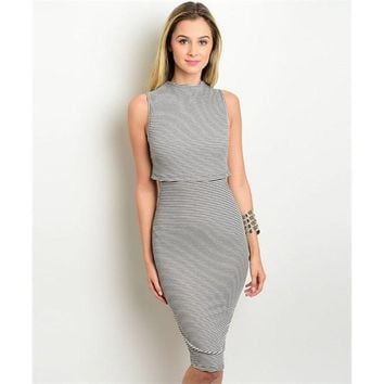 Women's  Black And White Striped Sleeveless Dress