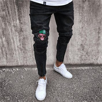 2018 Hotest Mens Skinny Jeans Ripped Jeans For Men Slim Fit Stretch Denim Embroidery Mokey Hip Hop Distressed Frayed Biker Jeans