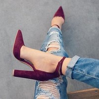 6 Colors Pointed Strappy Pumps Retro High Thick Heels Shoes 2107 New Woman Shoes Femal