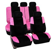 FH-FB080115 Lush Velour Seat Covers, Airbag compatible and Split Bench, Pink / Black