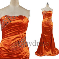 Custom Orange Beaded Mermaid Long Prom Dresses Formal Evening Gowns Wedding Party Dresses Party Dresses Bridesmaid Dresses Evening Dress
