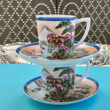 2 Demitasse, Small Coffee Cup, Turkish Coffee, Vintage China Cup and Saucer, Espresso cups