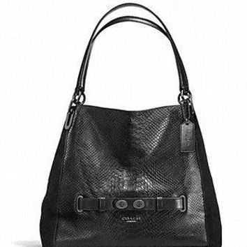 Coach Blake Shoulder Bag in Exotic Embossed Leather