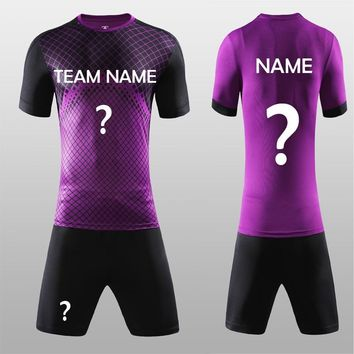 Free Shipping New 2018 Nice Purple Color Men's Soccer Jerseys Set Custom Name Futbol Club Uniforms Football Team Kit Suit Jersey