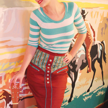 SALE - Western Wiggle Skirt - Western Rodeo Cowgirl Pinup Rodeo Queen