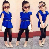 Girls Trendy Two Piece Outfit Shirt + Leggings
