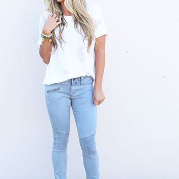 Hello Moto Jeggings [Mint Gray]