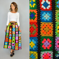 GRANNY SQUARES vtg 70s crochet patchwork boho hippie mod rainbow AFGHAN ooak maxi skirt, small-large